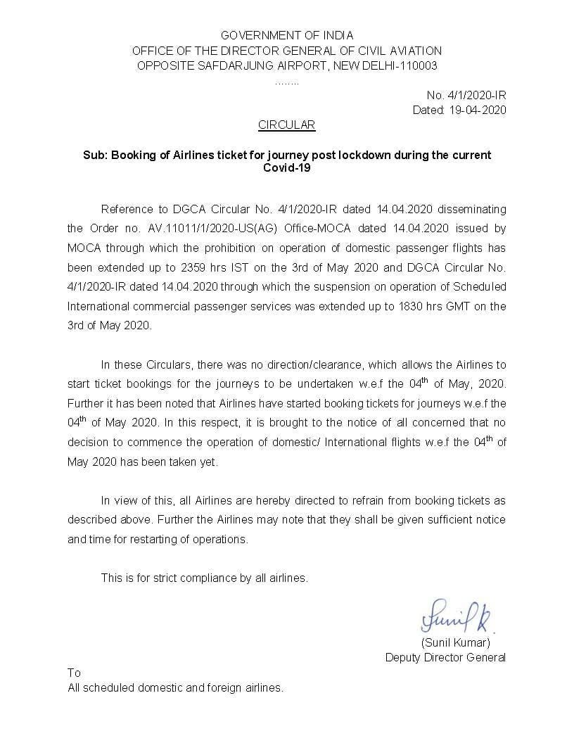 <p>DGCA issues directive to all airlines regarding booking post May 3</p>