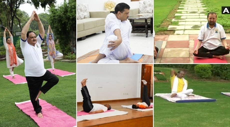 <p>Political leaders celebrate International Yoga Day</p>