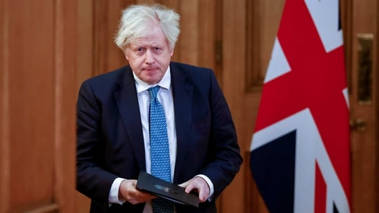 Britain's Prime Minister Boris Johnson attends a virtual news conference on the COVID-19 pandemic, at 10 Downing Street in London, Britain January 7, 2021. Tolga Akmen/Pool via REUTERS(REUTERS)