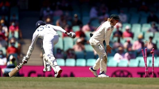 India's Jasprit Bumrah getting runout on the third day of the Third Test Match at Sydney Cricket Ground, in Sydney.