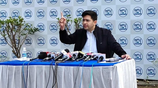 AAP Punjab co-incharge Raghav Chadha addresses media during a press conference. (HT Photo)