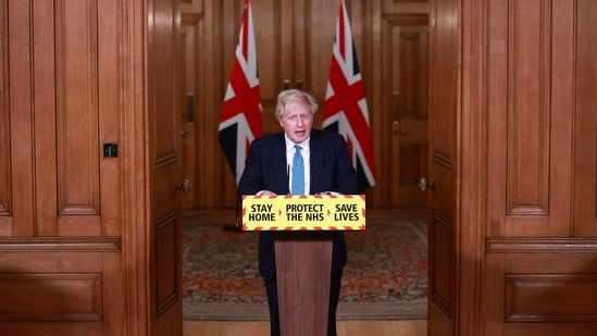 Britain's Prime Minister Boris Johnson speaks during a news conference announcing a third national lockdown in response to the ongoing situation with the coronavirus pandemic, inside 10 Downing Street in London on January 5.(AP)