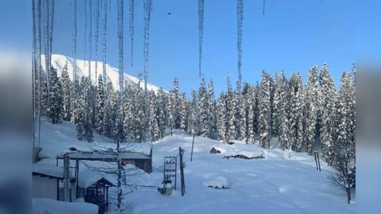However, the heavy snowfall has resulted in the Kashmir valley being cut off from the neighbouring areas.(Twitter/Geetu_Moza)