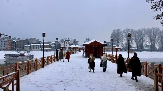 The Zero Bridge in Srinagar became quite a tourist attraction for its unparalleled views.(Twitter/Farhat_naik_)