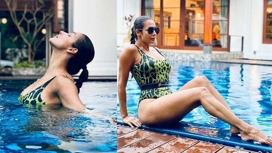 It seems Malaika Arora shared most of her time in the pool as she went on to drop many stunning pictures of her simply relaxing in a bikini or performing yoga in water.