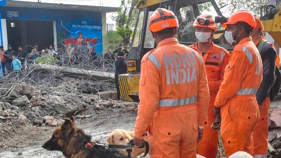 NDRF personnel along with their sniffer dogs carry out a rescue operation.(PTI)