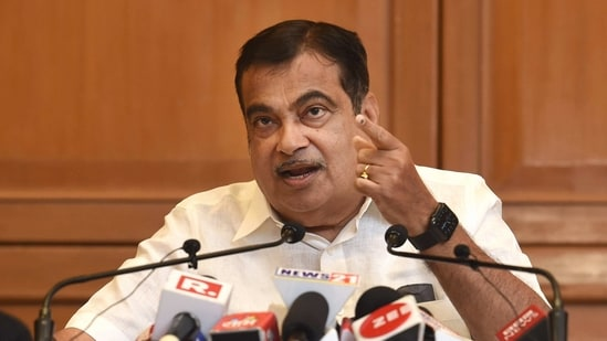 Union Minister for Road Transport & Highways and Micro, Small and Medium Enterprises Nitin Gadkari seen interacting with the media in this file photo (PTI Photo)(PTI)
