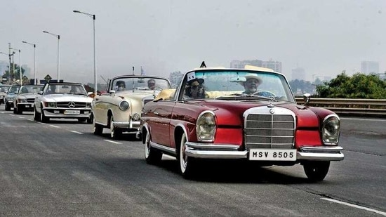 Industrialist Viveck Goenka's W111 Fintail cabriolet leads the line-up at the MBCCR 2020