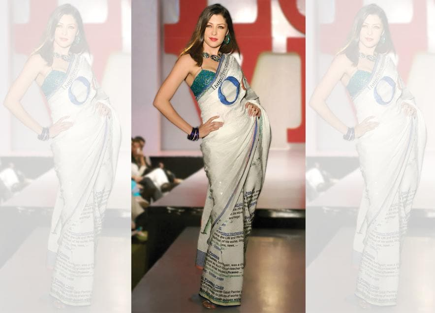 """The """"Ooogle""""sari, which was part of the pop art collection"""
