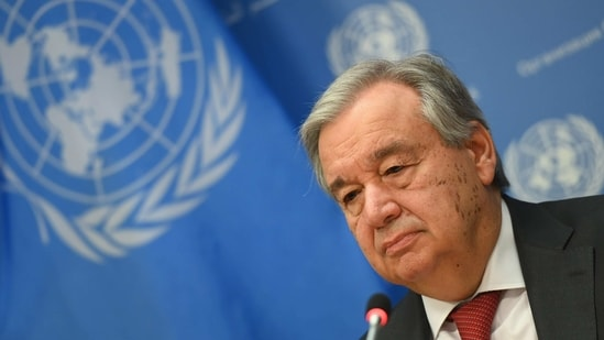 United Nations Secretary General Antonio Guterres speaks during a press briefing at United Nations Headquarters in New York City.(AP)