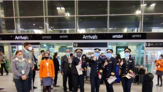 The all-women pilot crew on arrival at Bengaluru airport (ANI)