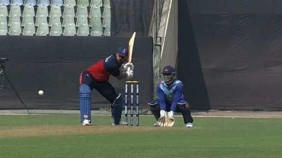 Photo of Delhi batsman Nitish Rana batting against Mumbai in Syed Mushtaq Ali Trophy(BCCI/Twitter)