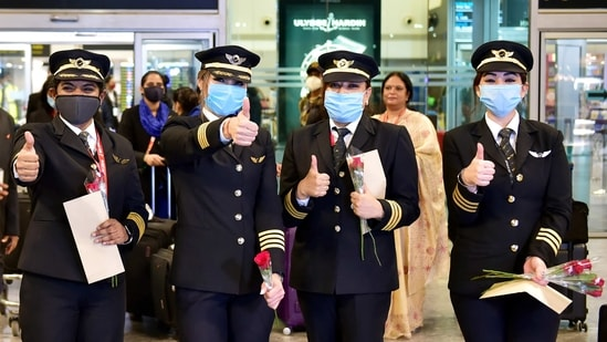 """Captain Zoya Aggarwal, who headed the four-member all-woman cockpit crew, said """"I was on top of the world"""" after landing at Bengaluru.(PTI)"""