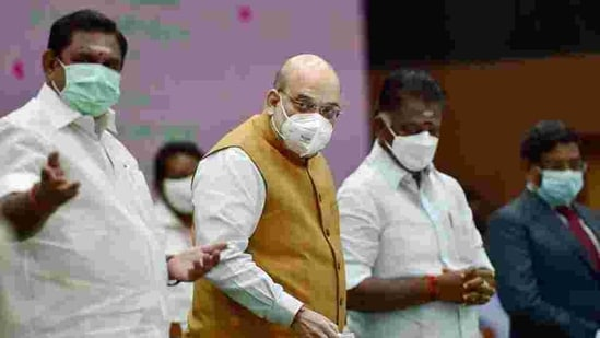 AIADMK twice made it clear that Palaniswami was the CM candidate - on December 27 at its first poll rally and at its general council meet on January 9. In picture - Home minister Amit Shah with TN CM K Palaniswami and Deputy CM O Panneerselvam.(PTI)