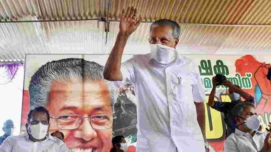 Kerala Chief Minister Pinarayi Vijayan during a farmers' protest meet.(PTI File Photo )