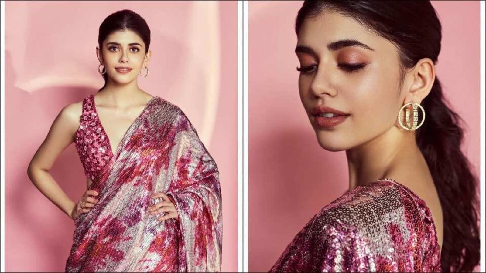 Sanjana Sanghi creates a fashion riot in season's favourite tie-dye bling saree   Hindustan Times