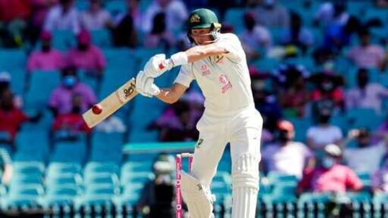 Australia's Marnus Labuschagne bats during play on day three of the third cricket test between India and Australia at the Sydney Cricket Ground, Sydney, Australia, Saturday, Jan. 9, 2021. (AP Photo/Rick Rycroft)(AP)