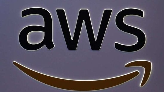 The logo for Amazon Web Services (AWS) is seen at the SIBOS banking and financial conference.(Reuters)