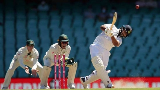 India's Rishabh Pant hits a ball for the boundary on the 5th day of the third test match between Australia and India, at Sydney Cricket Ground on Monday. (Photo Courtesy