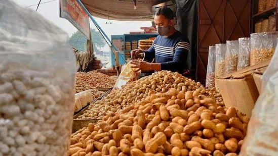Vendors in DCM Road, Kishan Ganj market sells more than four types of groundnut and 10 varieties of chikki at much affordable prices.(Shivam Saxena/HT )