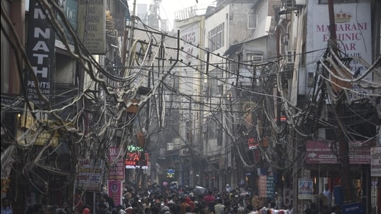Chandni Chowk on a busy day a few years ago.The court was hearing a plea on the redevelopment of Chandni Chowk for the beautification of the walled city. (HT archive)