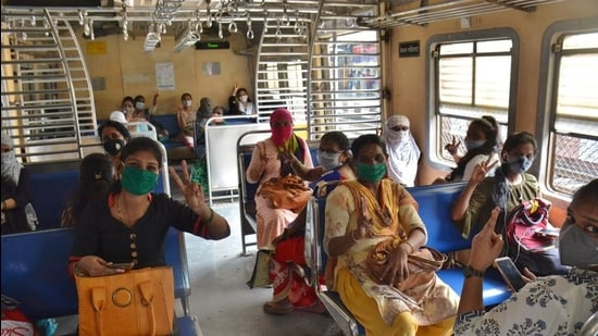 The lifeline of Mumbai, local trains, was back on track since June last year after the nationwide lockdown imposed on March 25, but the initial services were only for essential workers. Later, women commuters were allowed to travel between 11am to 3pm and after 7pm till the last train. (HT FILE)
