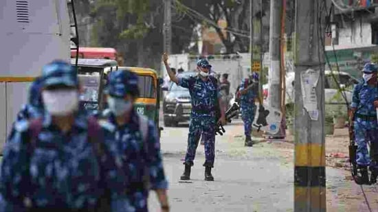 RAF personnel seen on patrol at Shiv Vihar after six months since the North East Delhi riots in New Delhi.(Sanchit Khanna/HT PHOTO)