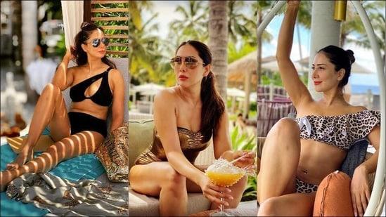 Kim Sharma rocks sultry bikini looks at Bollywood's favourite holiday destination, Maldives(Instagram/kimsharmaofficial)