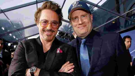 Actor Robert Downey Jr. (L) and Kevin Feige, President of Marvel Studios at the premiere of Avengers: Infinity War.(REUTERS)