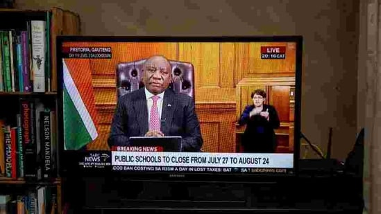 The country will remain on virus alert level 3, Ramaphosa said Monday in a televised address. (Bloomberg)