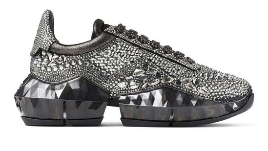 The pair of crystal-encrusted Diamond black sneakers(Jimmy Choo)