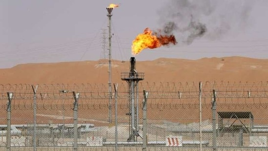 Flames are seen at the production facility of Saudi Aramco's Shaybah oilfield in the Empty Quarter, Saudi Arabia.(Reuters)