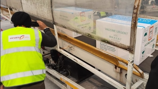 Boxes containing Covaxin arrive at Delhi airport on Wednesday, January 13. (Photo: Sourced)