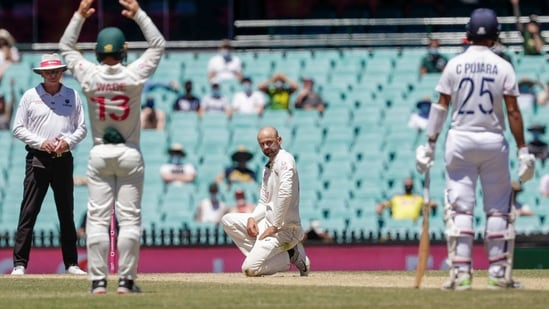 Australia's Nathan Lyon reacts after an appeal for LBW against India's Cheteshwar Pujara on the final day of the third cricket test between India and Australia at the Sydney Cricket Ground(AP)