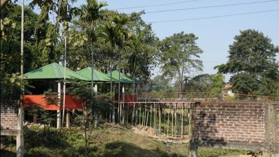 The resort that is under construction in Haldhibari animal corridor near Kaziranga National Park and Tiger Reserve in Assam. (HT Photo)