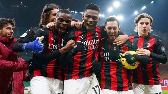 AC Milan players are overjoyed after the team's first goal(AP)
