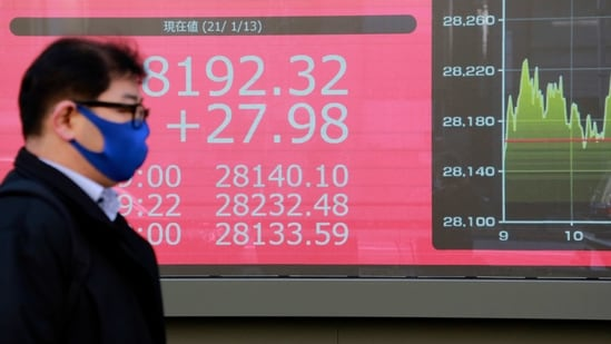 A man walks by an electronic stock board of a securities firm in Tokyo, Wednesday, Jan. 13, 2021. Asian stock markets were mixed Wednesday after Wall Street rebounded, shrugging off uncertainty about a possible new attempt to impeach President Donald Trump over last week's attack on the U.S. Capitol. (AP Photo/Koji Sasahara)(AP)