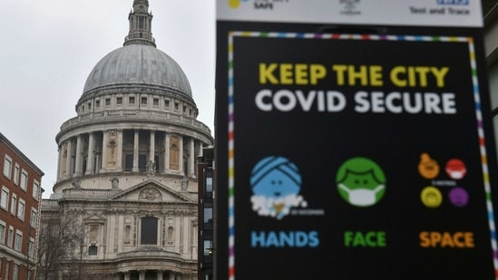 """Covid-19 signage in front of St Paul's Cathedral, after Mayor of London Sadiq Khan declared a """"major incident"""" as the spread of coronavirus threatens to """"overwhelm"""" the capital's hospitals during England's third national lockdown to curb the spread of coronavirus, in London, Friday, Jan. 8, 2021. (Dominic Lipinski/PA via AP)(AP)"""