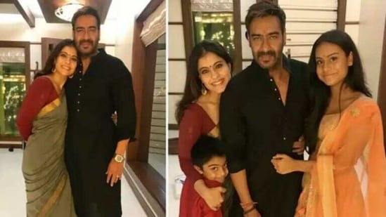 Kajol with her husband, Ajay Devgn, and their kids, Nysa and Yug.