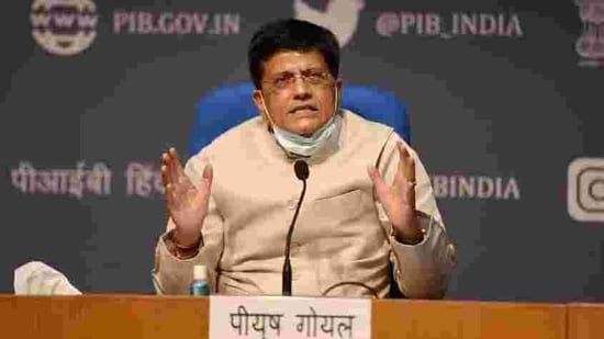 Union railways minister Piyush Goyal during a press briefing.(PTI File Photo)