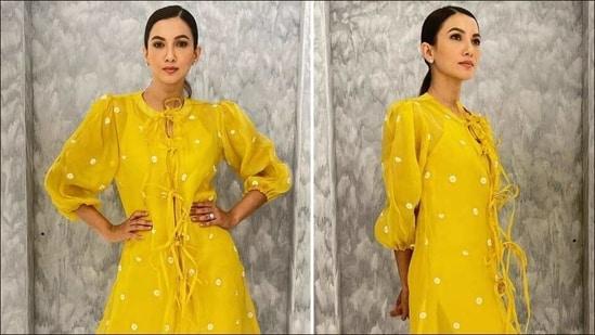 Gauahar Khan's boho vibe in thigh-high yellow dress borrows 70's beach fashion(Instagram/gauaharkhan)