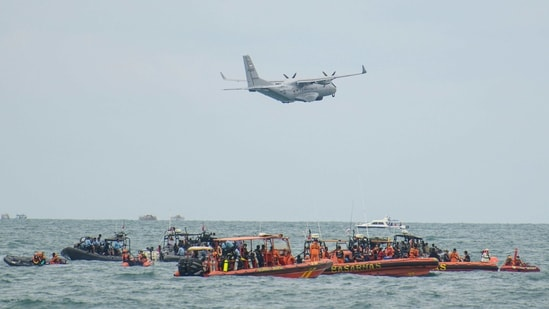 An Indonesian Military aircraft CN-235 is seen during the search and rescue operation for the Sriwijaya Air flight SJ 182, at the sea off the Jakarta coast, Indonesia.(Reuters)