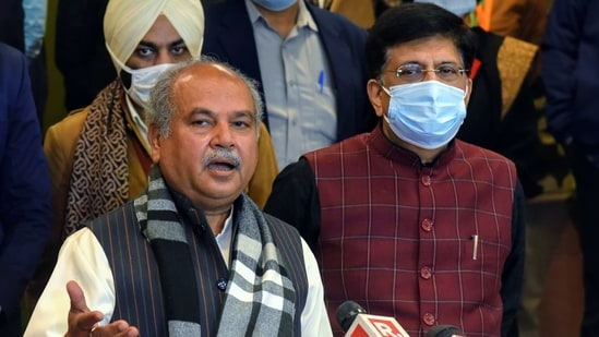 Union Agriculture Minister Narendra Singh Tomar speaks to mediapersons (ANI Photo)
