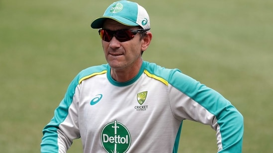 Australia's head coach Justin Langer waits for his players before they train at the Sydney Cricket Ground in Sydney, Tuesday, Jan. 5, 2021, ahead of their cricket test against India starting Thursday.(AP)