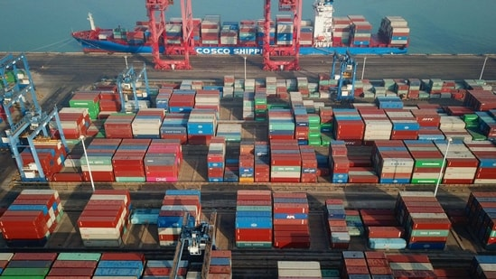 This aerial photo shows shipping containers stacked at a port in Lianyungang, in China's eastern Jiangsu province.(AFP)