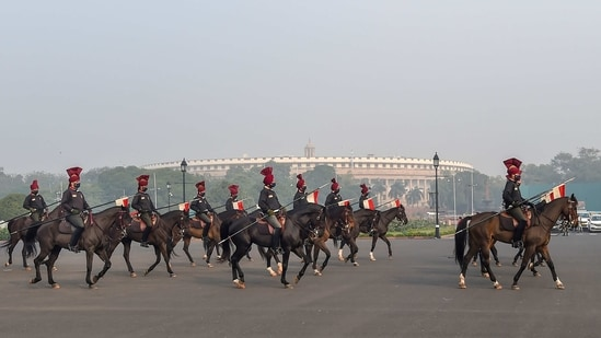 New Delhi: A contingent of President's Bodyguard during their rehearsal for the upcoming Republic Day Parade at Rajpath in New Delhi, Tuesday, Jan. 12, 2021. (PTI Photo/ Manvender Vashist)(PTI01_12_2021_000122A)(PTI)