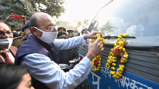 Lucknow: UP Health Minister Jai Pratap Singh flags off the first batch of Covishield vaccine, which arrived from Pune's Serum Institute of India, at Chaudhary Charab Singh airport in Lucknow, Tuesday, Jan. 12, 2021. (PTI Photo/Nand Kumar)(PTI01_12_2021_000177B)(PTI)