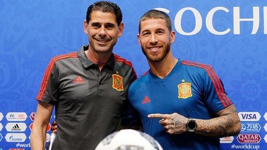 Head coach Fernando Hierro (L) of Spain with Sergio Ramos. (Getty)