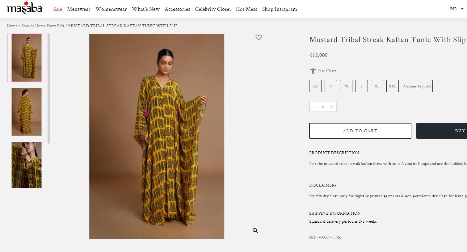Kareena Kapoor's kaftan is worth ₹12k.(houseofmasaba.com)