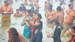 Lakhs of devotees braved the winter chill to take a dip at Sangam on Makar Sankranti(HT Photo/Anil Kumar Maurya)